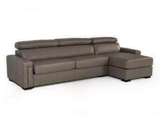 Estro Salotti Sacha - Modern Dark Grey Leather Reversible Sectional Sofa Bed with Storage