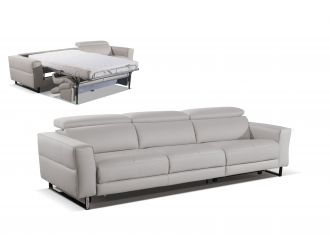 Accenti Italia Snooker - Modern Leather Grey - White Sofa Bed with Recliner