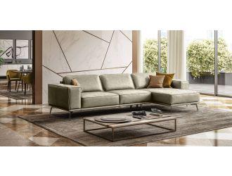 Coronelli Collezioni Soho - Italian Right Facing Grey Maya Cloud Leather Sectional Sofa