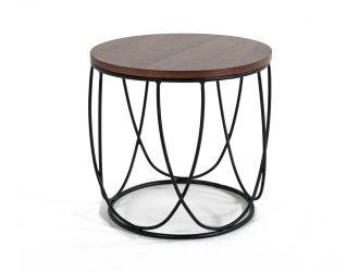 Modrest Strang Modern Walnut & Black Round End Table