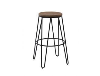 Modrest Gelson Modern Wood Top Bar Stool (Set of 2)