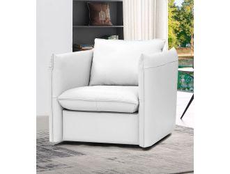 Divani Casa Tamworth - Modern White Leather Swivel Lounge Chair