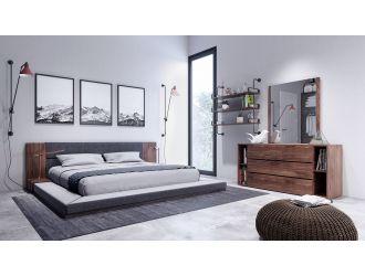 Nova Domus Jagger Modern Dark Grey & Walnut Bedroom Set