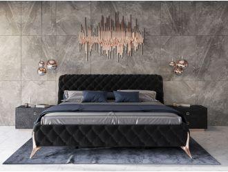 Modrest Legend - Modern Black Velvet & Rosegold Bed