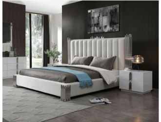 Modrest Token - Modern White + Stainless Steel Bed + Nightstands