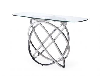 Modrest Tulare - Modern Glass & Stainless Steel Console Table