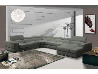 Divani Casa Pella - Modern Grey Italian Leather U Shaped Sectional Sofa