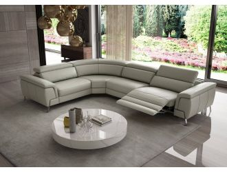 Coronelli Collezioni Wonder - Italian Modern Grey Leather Sectional Sofa with Recliner
