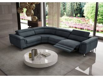 Coronelli Collezioni Wonder - Italian Modern Blue Leather Sectional Sofa with Recliner