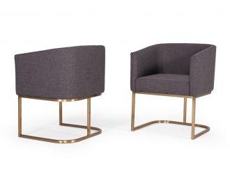 Modrest Yukon Modern Grey Fabric & Antique Brass Dining Chair