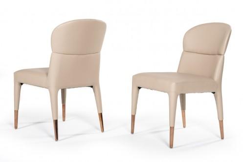 Modrest Ogden Modern Beige & Rosegold Dining Chair (Set of 2)
