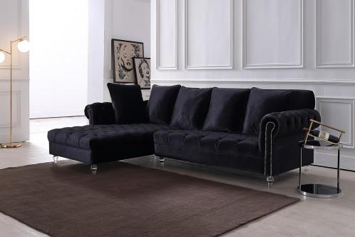 Divani Casa Temple Modern Black Velvet Sectional Sofa