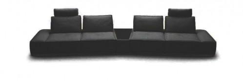 Divani Casa Orchid - Contemporary Black Italian Leather Sectional Sofa