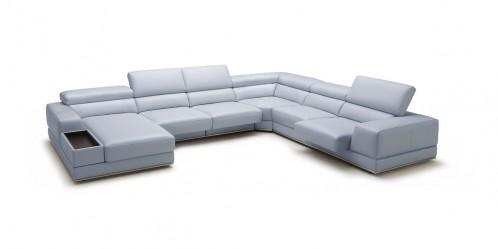 Divani Casa Chrysanthemum Modern Light Grey Leather Sectional Sofa