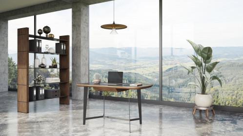 Modrest Girard - Modern Walnut & Black Glass Desk