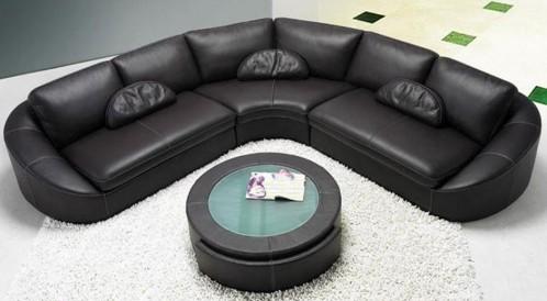 EV 2224 - Modern Contemporary Black Sectional Sofa