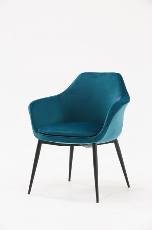Modrest Wilson Modern Teal Velvet & Black Dining Chair