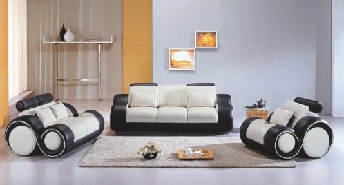 4088 Contemporary Black and White Living Room Sofa Set