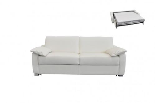 Estro Salotti Dalia Italian Modern White Leather Sofa Bed
