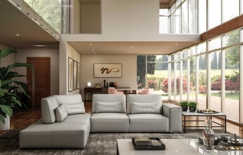 Accenti Italia Enjoy Italian Modern Light Grey Leather Sectional Sofa