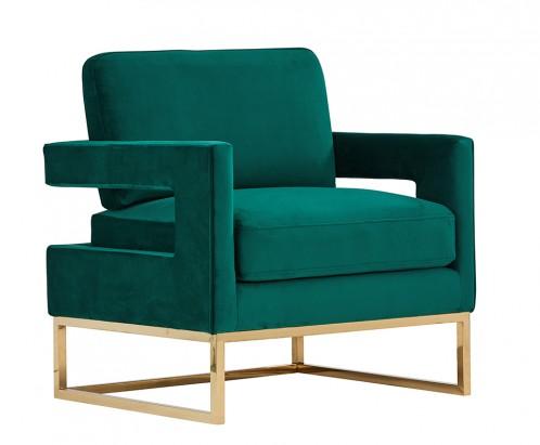 Modrest Edna Modern Green Velvet & Gold Accent Chair