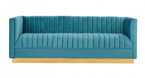 Divani Casa Oneida Modern Blue Velvet Sofa