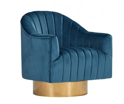 Divani Casa Parson Modern Blue Velvet Swivel Armchair