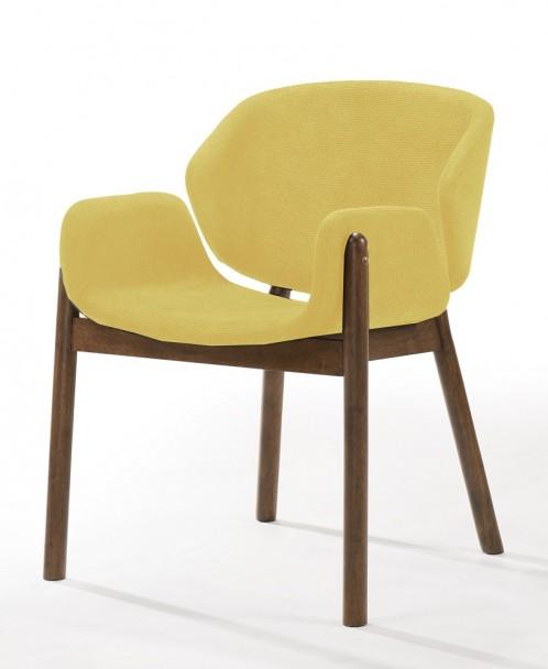 Modrest Jozy - Modern Yellow & Walnut Dining Chair (Set of 2)