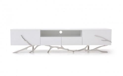 """Modrest Legend - 87""""-Wide Modern White TV Stand"""