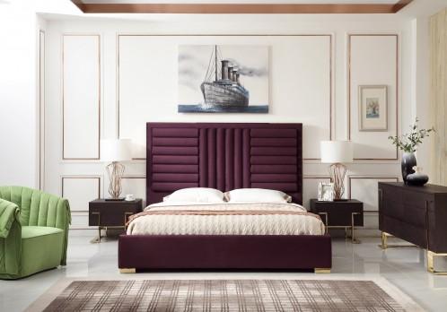 Modrest Daystar Modern Wine Red Velvet & Gold Bed
