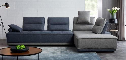 Divani Casa Glendale - Modern Blue Fabric Sectional Sofa