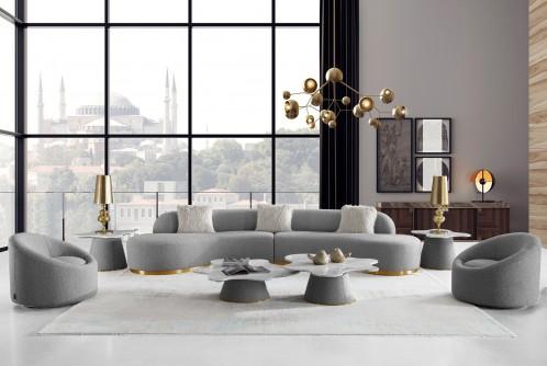 Divani Casa Frontier - Glam Grey Fabric Sectional Sofa