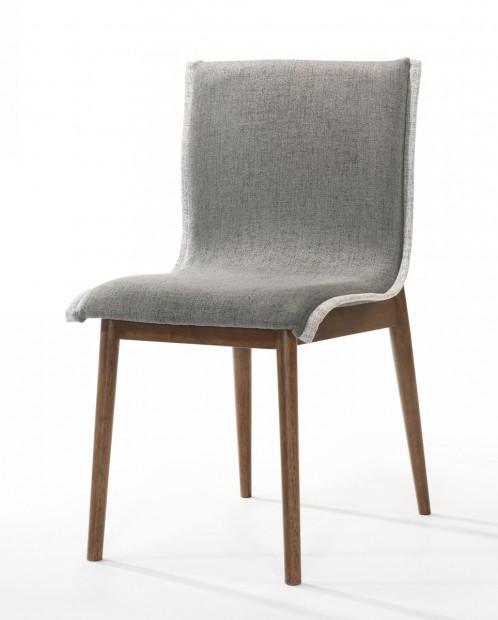 Modrest Ackley - Modern Walnut and Grey Fabric Dining Chair- Set of 2