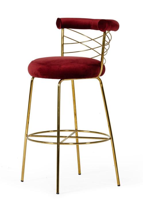 Modrest Dakin - Modern Glam Red & Gold Barstool
