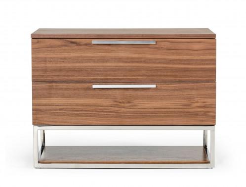 Modrest Heloise - Contemporary Walnut & Stainless Steel Nightstand