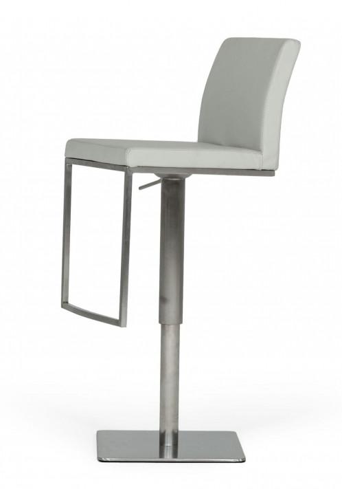 Modrest Folsum - Modern Light Grey & Brushed Stainless Steel Bar Stool