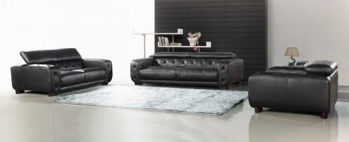 Nantes Black Italian Leather Tufted Sofa Set