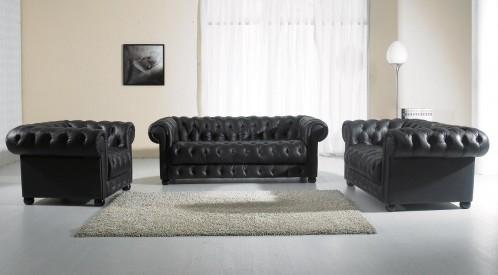 Paris 2 Modern White Leather Sofa Set