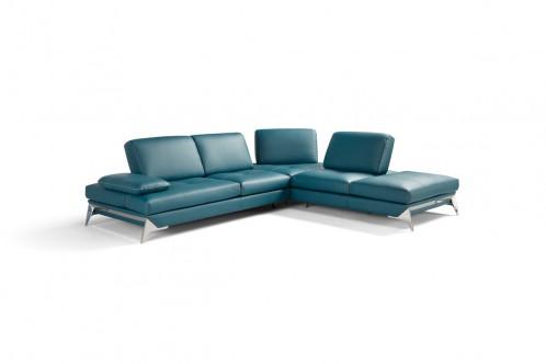 Nova Domus Andrea Modern Blue Leather Sectional Sofa