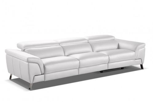 Accenti Italia Azur Italian Modern White Leather Sofa w/ 2 Recliners