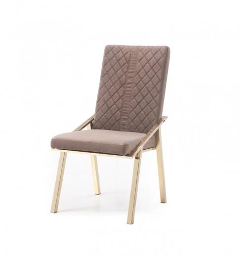 Modrest Acton Modern Brown Velvet & Gold Dining Chair (Set of 2)