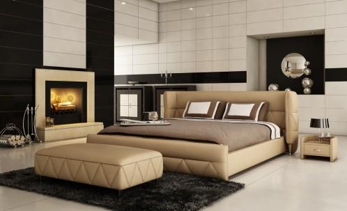 Modrest B1310 Modern Beige Bonded Leather Bed