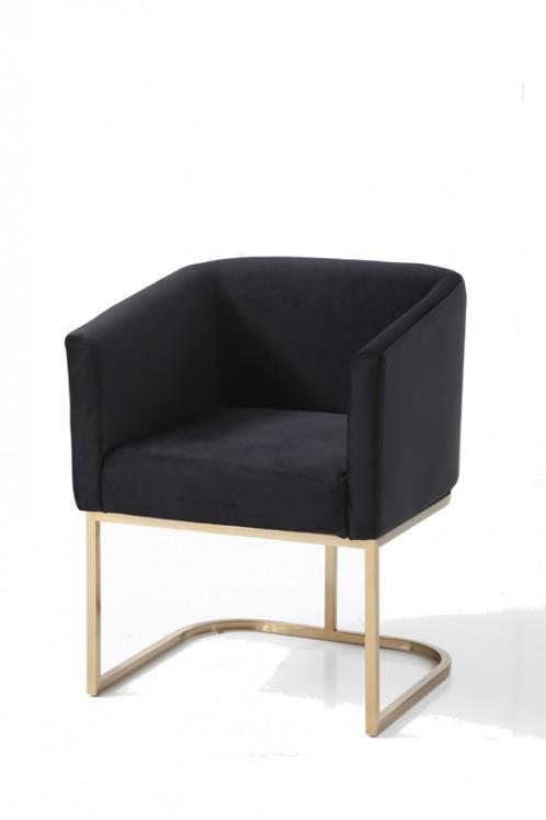 Modrest Yukon Modern Black Velvet & Gold Dining Chair