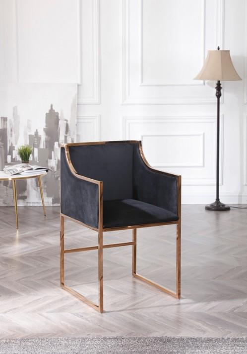 Modrest Natasha Modern Black Velvet & Rosegold Dining Chair