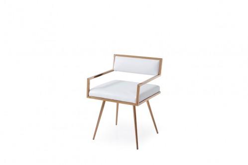 Modrest Rosario Modern White & Rosegold Dining Chair