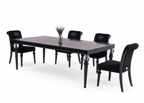 A&X Baccarat - Transitional Black Crocodile Lacquer & Crystal Dining Table