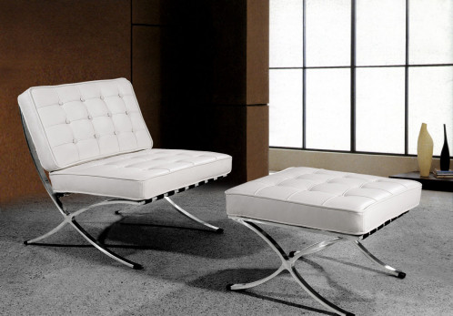 "Bellatrix Modern White Leather ""X"" Leg Chair And Ottoman Lounge Set"