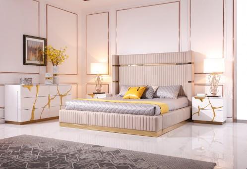 Modrest Aspen Modern Beige Bonded Leather & Gold Bed