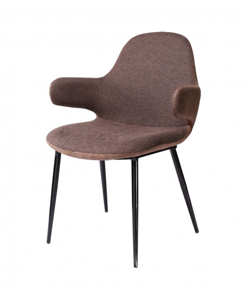 Modrest Bontura - Modern Brown Fabric & Leatherette Accent Chair