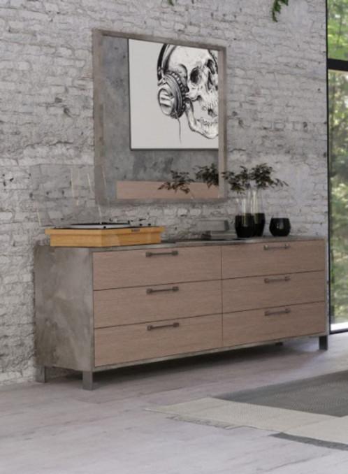 Nova Domus Boston - Modern Brown Oak & Brushed Stainless Steel Dresser